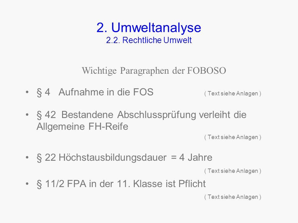 2. Umweltanalyse 2.2. Rechtliche Umwelt Art 16: (1) Die FOS vermittelt die allgemeine, fachtheoretische und fachpraktische Ausbildung. (2) Die Fachobe