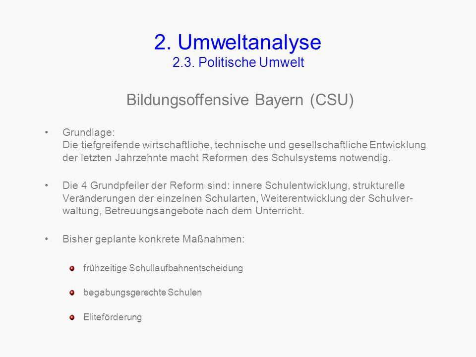 2. Umweltanalyse 2.3. Politische Umwelt Die politische Umwelt unserer FOS wird dominiert durch die Landesregierung (derzeit CSU). Da wir eine Städtisc