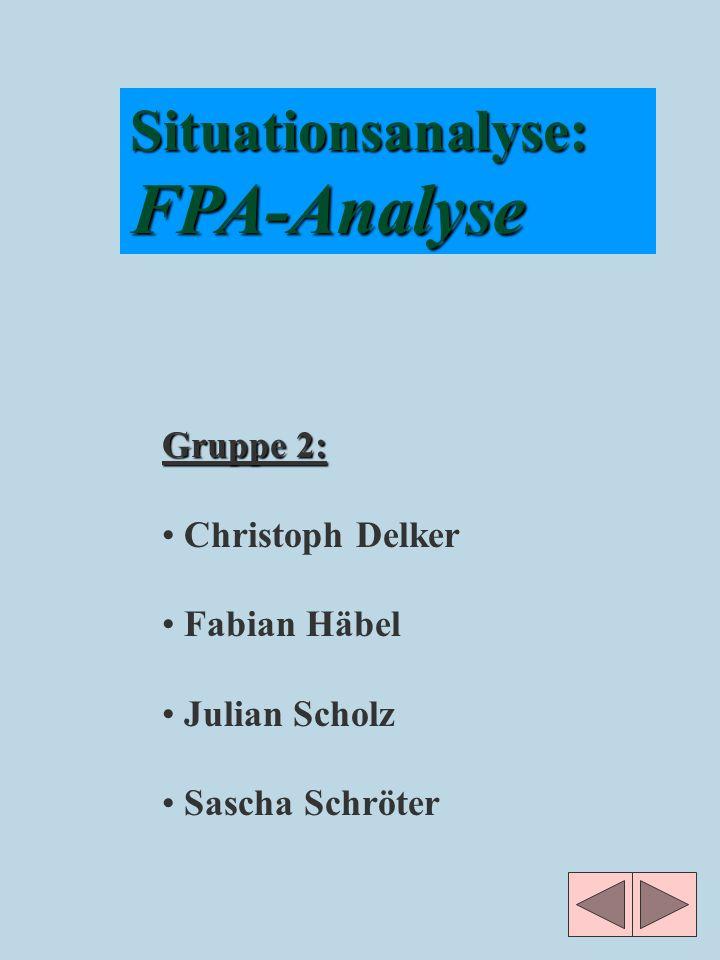 Situationsanalyse:FPA-Analyse Gruppe 2: Christoph Delker Fabian Häbel Julian Scholz Sascha Schröter