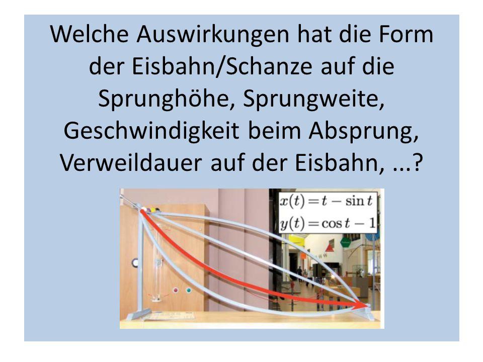 Welche Auswirkungen hat die Form der Eisbahn/Schanze auf die Sprunghöhe, Sprungweite, Geschwindigkeit beim Absprung, Verweildauer auf der Eisbahn,...?