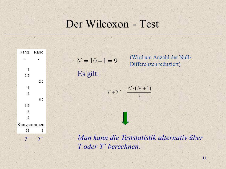 11 Rang +- 1 2.5 4 5 6.5 8 9 TT' 369 Der Wilcoxon - Test Rangsummen Es gilt: Man kann die Teststatistik alternativ über T oder T berechnen. (Wird um A