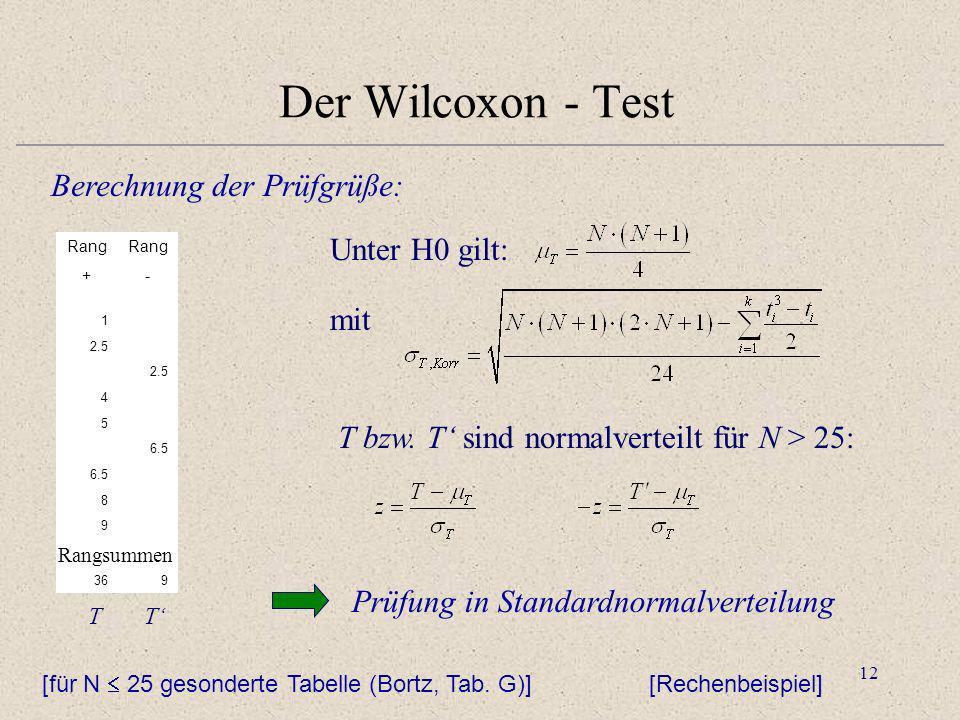 12 Der Wilcoxon - Test Berechnung der Prüfgrüße: mit T bzw. T sind normalverteilt für N > 25: Unter H0 gilt: Prüfung in Standardnormalverteilung [Rech