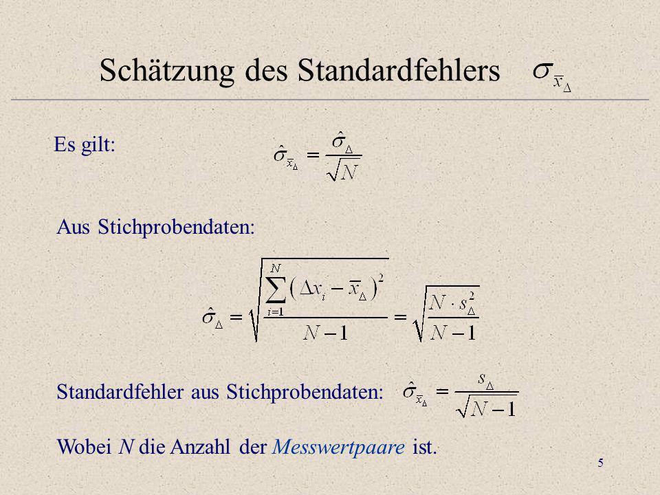 5 Schätzung des Standardfehlers Es gilt: Aus Stichprobendaten: Standardfehler aus Stichprobendaten: Wobei N die Anzahl der Messwertpaare ist.