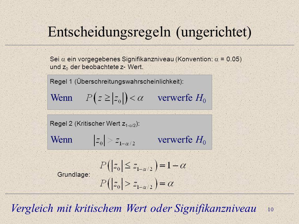 11 Entscheidungsregeln (gerichtet) Sei ein vorgegebenes Signifikanzniveau (Konvention: = 0.05) und z 0 der beobachtete z- Wert.