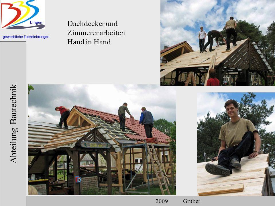 gewerbliche Fachrichtungen Lingen Abteilung Bautechnik 2009 Gruber Dachdecker und Zimmerer arbeiten Hand in Hand