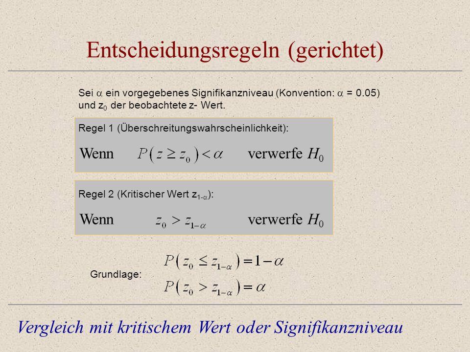 Entscheidungsregeln (gerichtet) Sei ein vorgegebenes Signifikanzniveau (Konvention: = 0.05) und z 0 der beobachtete z- Wert. Vergleich mit kritischem