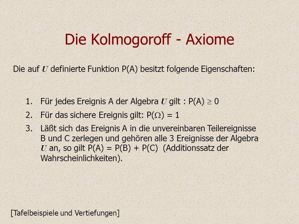 Die Kolmogoroff - Axiome Die auf U definierte Funktion P(A) besitzt folgende Eigenschaften: 1.Für jedes Ereignis A der Algebra U gilt : P(A) 0 2.Für das sichere Ereignis gilt: P( ) = 1 3.Läßt sich das Ereignis A in die unvereinbaren Teilereignisse B und C zerlegen und gehören alle 3 Ereignisse der Algebra U an, so gilt P(A) = P(B) + P(C) (Additionssatz der Wahrscheinlichkeiten).