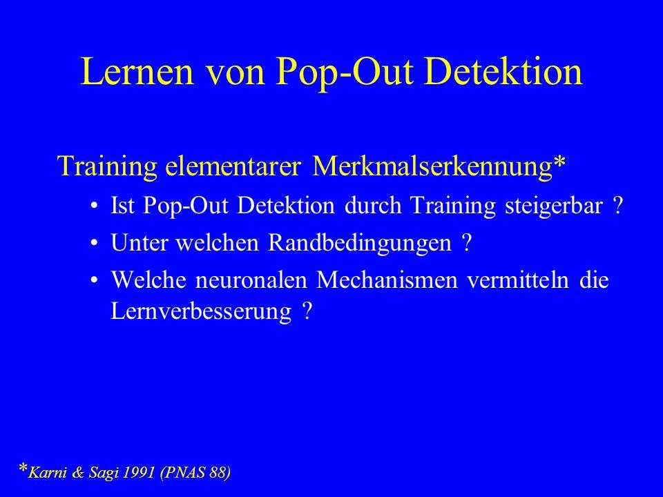 Lernen von Pop-Out Detektion Training elementarer Merkmalserkennung* Ist Pop-Out Detektion durch Training steigerbar ? Unter welchen Randbedingungen ?