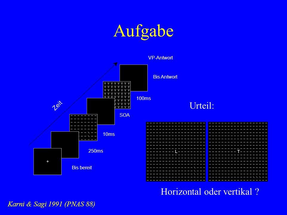 Aufgabe Karni & Sagi 1991 (PNAS 88) 10ms VP-Antwort 250ms Zeit Bis bereit SOA 100ms Bis Antwort Urteil: Horizontal oder vertikal ?
