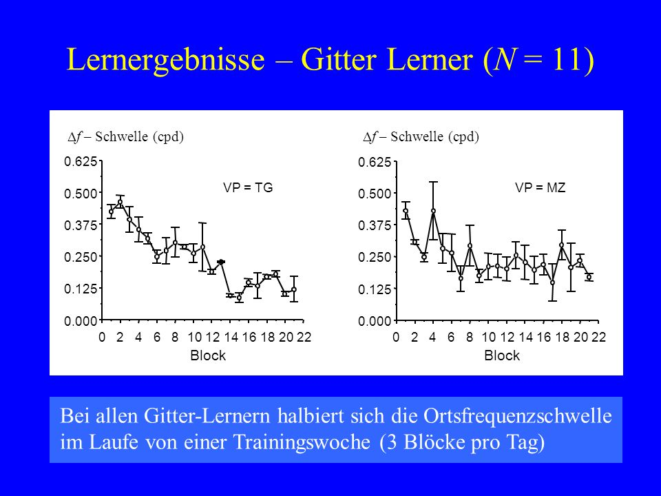 Lernergebnisse – Gitter Lerner (N = 11) VP = MZ 0246810121416182022 0.000 0.125 0.250 0.375 0.500 0.625 Block f – Schwelle (cpd) VP = TG 0246810121416