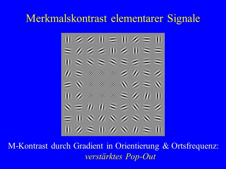 Merkmalskontrast elementarer Signale M-Kontrast durch Gradient in Orientierung & Ortsfrequenz: verstärktes Pop-Out