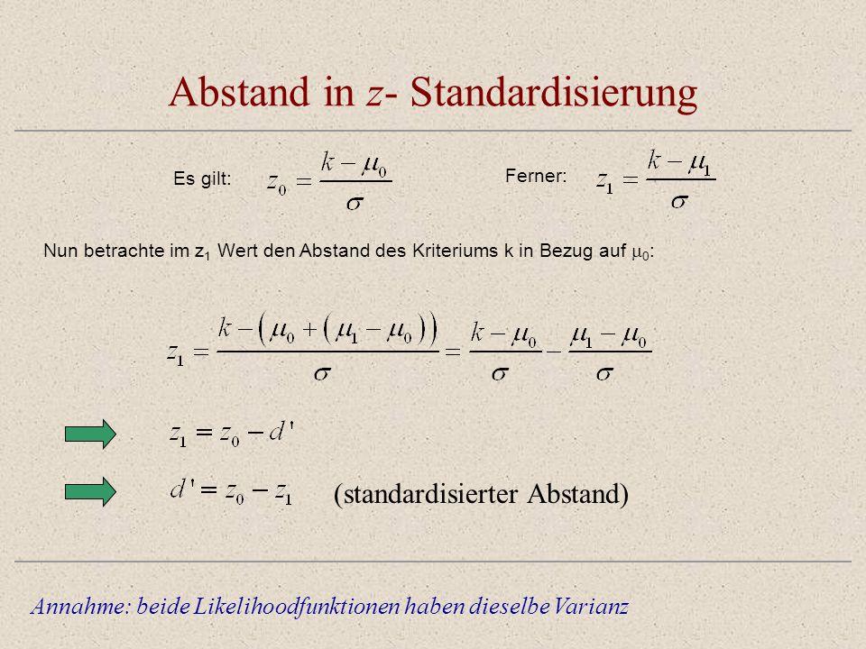 Abstand in z- Standardisierung Annahme: beide Likelihoodfunktionen haben dieselbe Varianz Nun betrachte im z 1 Wert den Abstand des Kriteriums k in Bezug auf 0 : Es gilt: Ferner: (standardisierter Abstand)