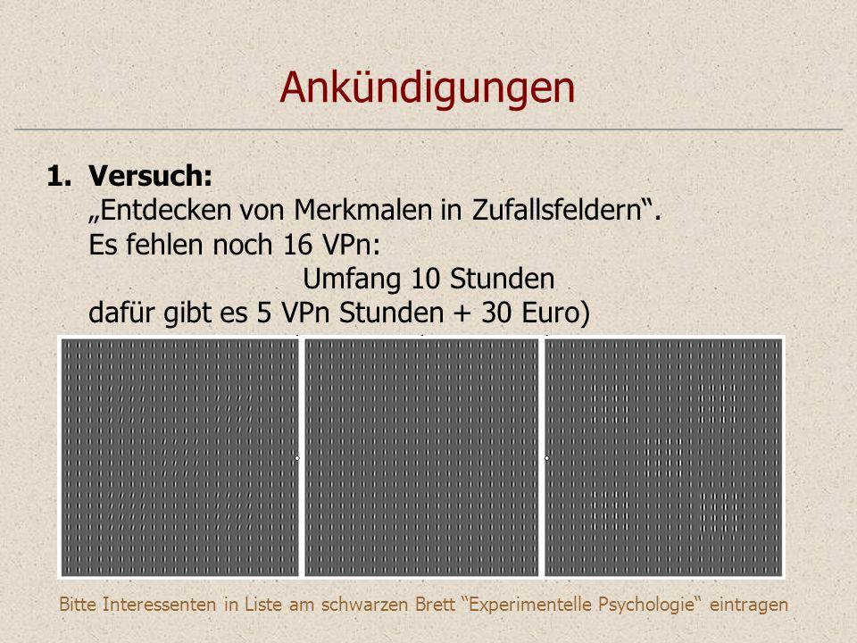 Ankündigungen 1.Versuch: Entdecken von Merkmalen in Zufallsfeldern.