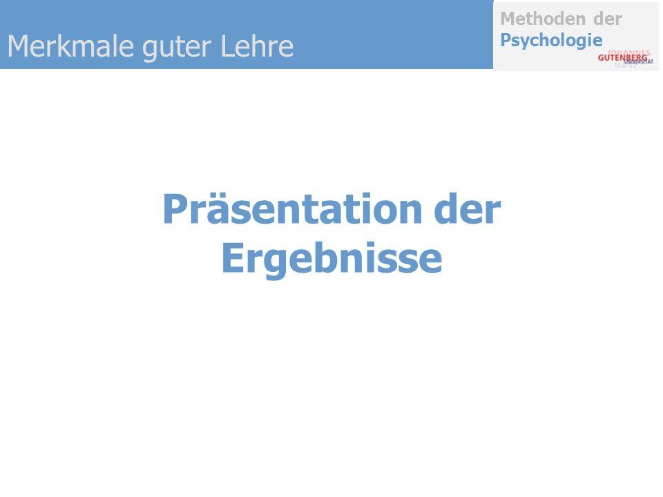 Methoden der Psychologie Präsentation der Ergebnisse Merkmale guter Lehre
