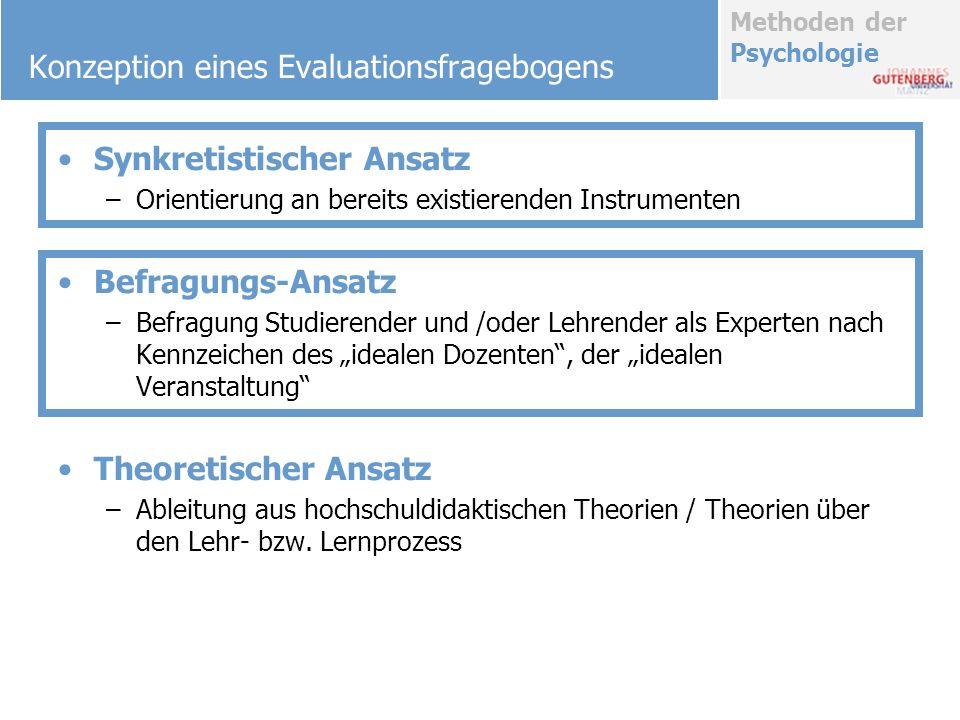 Methoden der Psychologie Konzeption eines Evaluationsfragebogens Synkretistischer Ansatz –Orientierung an bereits existierenden Instrumenten Befragung