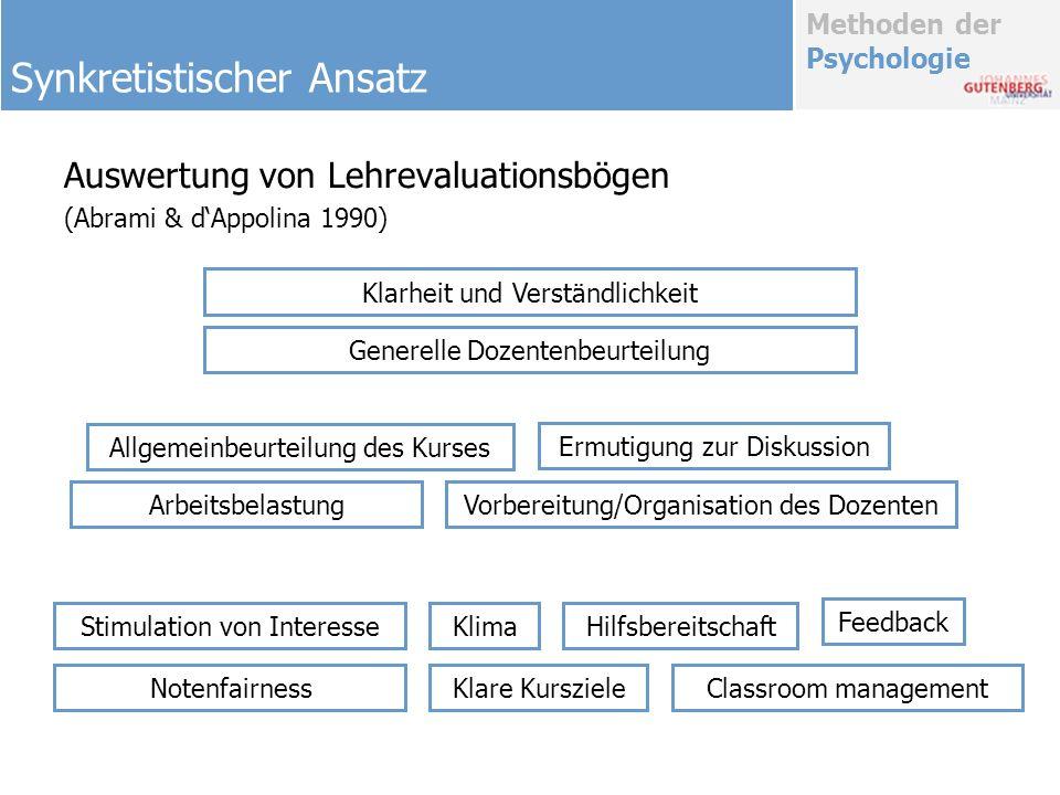 Methoden der Psychologie Auswertung von Lehrevaluationsbögen (Abrami & dAppolina 1990) Synkretistischer Ansatz Klarheit und Verständlichkeit Generelle