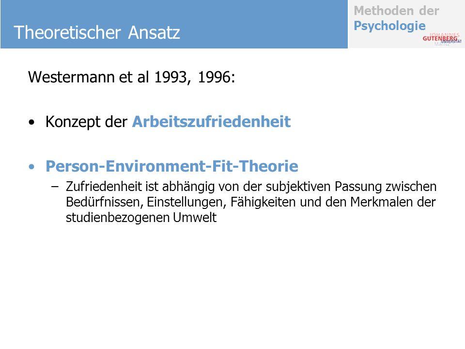 Methoden der Psychologie Theoretischer Ansatz Westermann et al 1993, 1996: Konzept der Arbeitszufriedenheit Person-Environment-Fit-Theorie –Zufriedenh