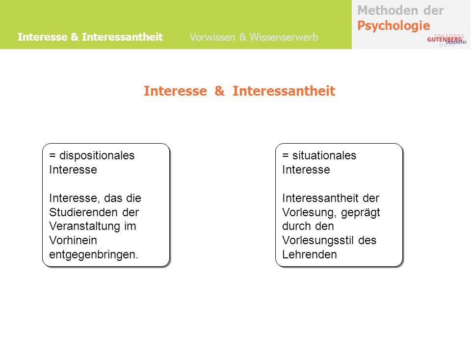 Methoden der Psychologie Förderung von Interesse und Teilnahmemotivation Interesse & Interessantheit Vorwissen & Wissenserwerb
