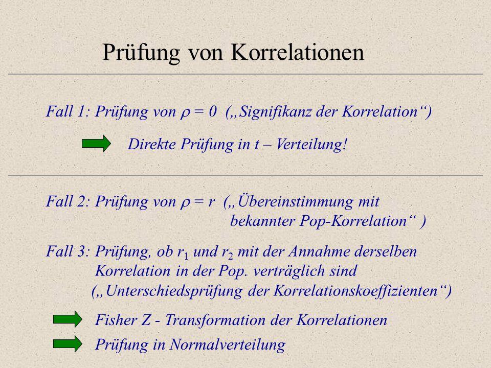 Prüfung von Korrelationen Fall 1: Prüfung von = 0 (Signifikanz der Korrelation) Direkte Prüfung in t – Verteilung! Fall 2: Prüfung von = r (Übereinsti