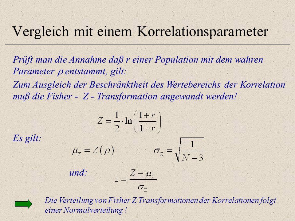 Vergleich mit einem Korrelationsparameter Prüft man die Annahme daß r einer Population mit dem wahren Parameter entstammt, gilt: Zum Ausgleich der Bes