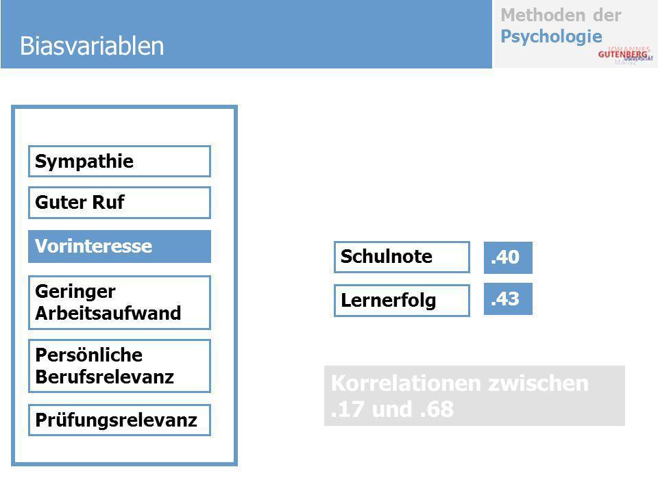 Methoden der Psychologie Biasvariablen Sympathie Guter Ruf Vorinteresse Geringer Arbeitsaufwand Persönliche Berufsrelevanz Prüfungsrelevanz Schulnote