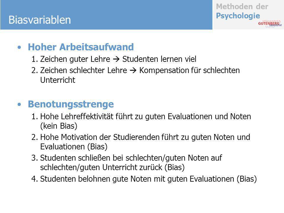 Methoden der Psychologie Biasvariablen Hoher Arbeitsaufwand 1.Zeichen guter Lehre Studenten lernen viel 2.Zeichen schlechter Lehre Kompensation für sc