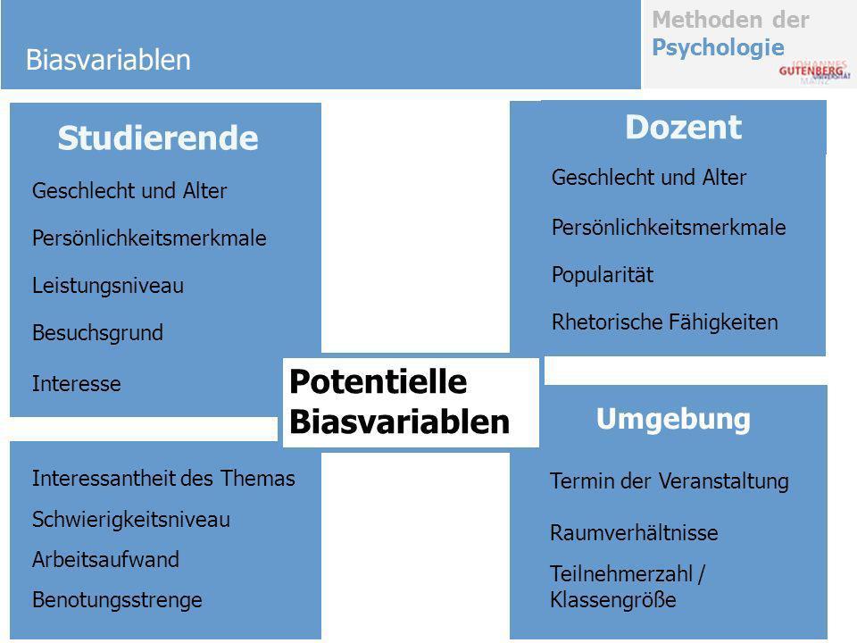 Methoden der Psychologie Biasvariablen Sympathie Guter Ruf Vorinteresse Geringer Arbeitsaufwand Persönliche Berufsrelevanz Prüfungsrelevanz Schulnote Lernerfolg Korrelationen zwischen.17 und.68.43.44