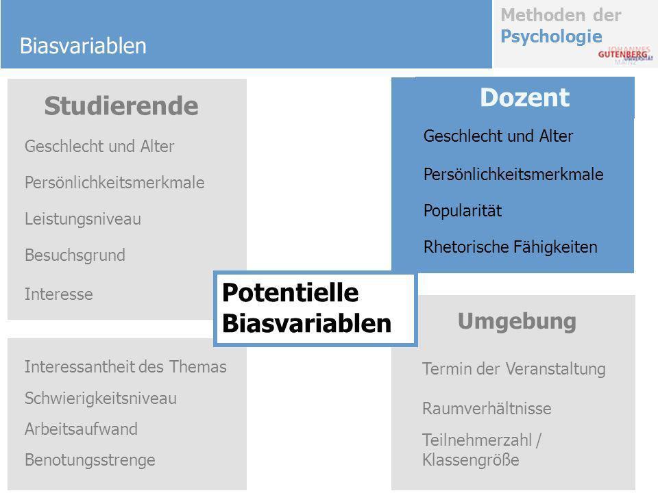 Methoden der Psychologie Biasvariablen Besuchsgrund Interessantheit des Themas Schwierigkeitsniveau Arbeitsaufwand Benotungsstrenge Geschlecht und Alt