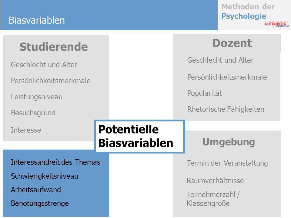 Methoden der Psychologie Biasvariablen Münster 2003: Entwicklung eines Fragebogens für Vorlesungen und Seminare 9 Vorlesungen 164 Studierende