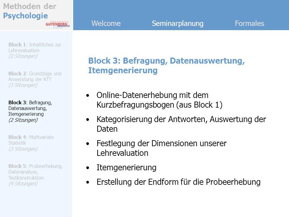 Methoden der Psychologie Welcome Seminarplanung Formales Block 4: Multivariate Statistik Block 1: Inhaltliches zur Lehrevaluation (2 Sitzungen) Block 2: Grundzüge und Anwendung der KTT (3 Sitzungen) Block 3: Befragung, Datenauswertung, Itemgenerierung (2 Sitzungen) Block 4: Multivariate Statistik (3 Sitzungen) Block 5: Probeerhebung, Datenanalyse, Testkonstruktion (4 Sitzungen) Datenbeschreibung und Screening Multiple Regressionsanalyse Faktorenanalyse Diskriminanzanalyse Praktische Vertiefung der SPSS-Kenntnisse, Standardarbeiten mit Excel