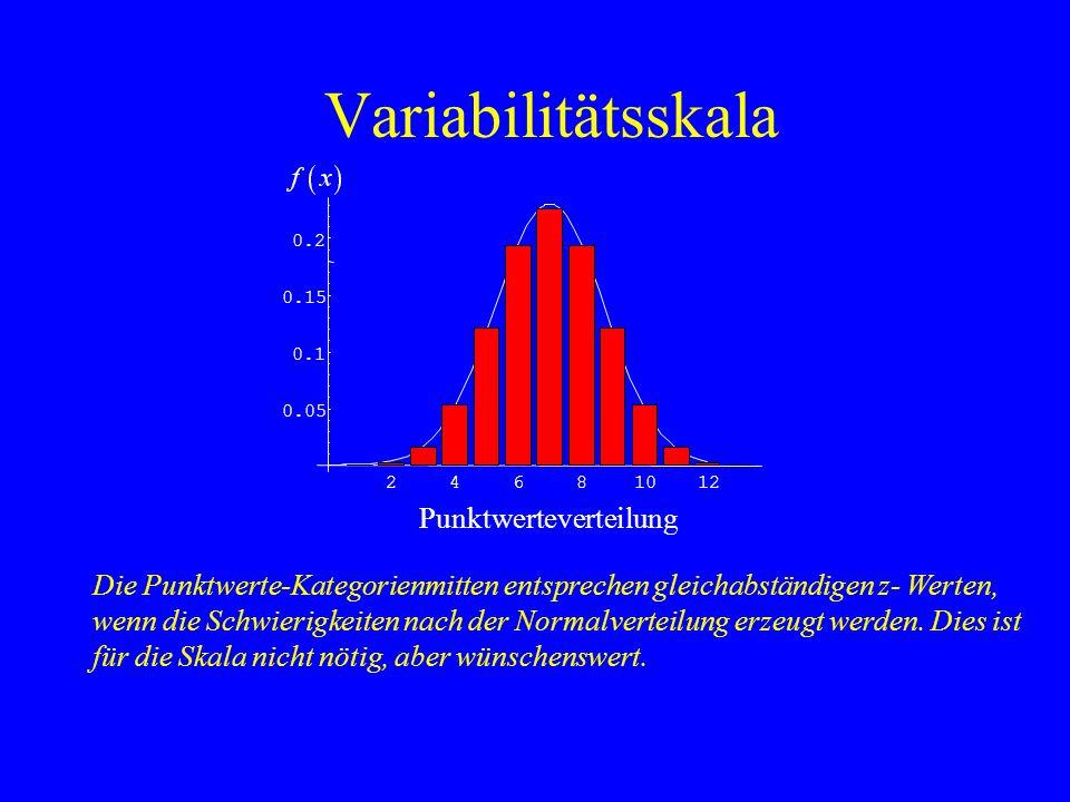 Variabilitätsskala Die Punktwerte-Kategorienmitten entsprechen gleichabständigen z- Werten, wenn die Schwierigkeiten nach der Normalverteilung erzeugt