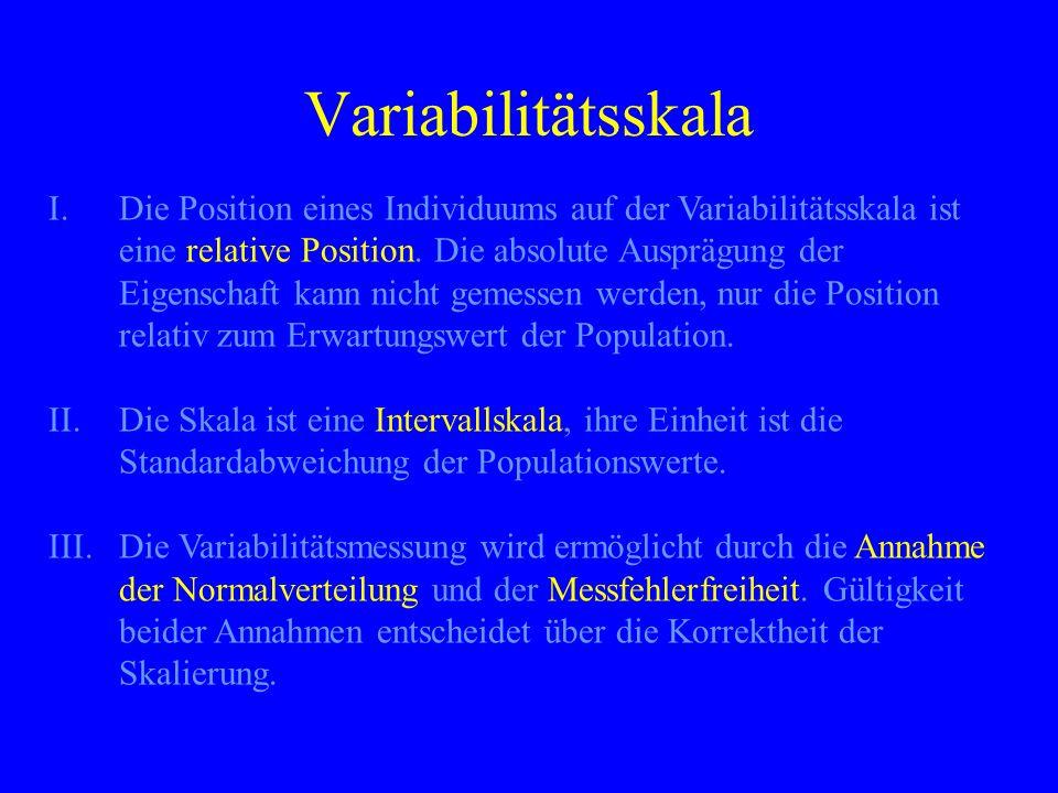 Variabilitätsskala I.Die Position eines Individuums auf der Variabilitätsskala ist eine relative Position. Die absolute Ausprägung der Eigenschaft kan