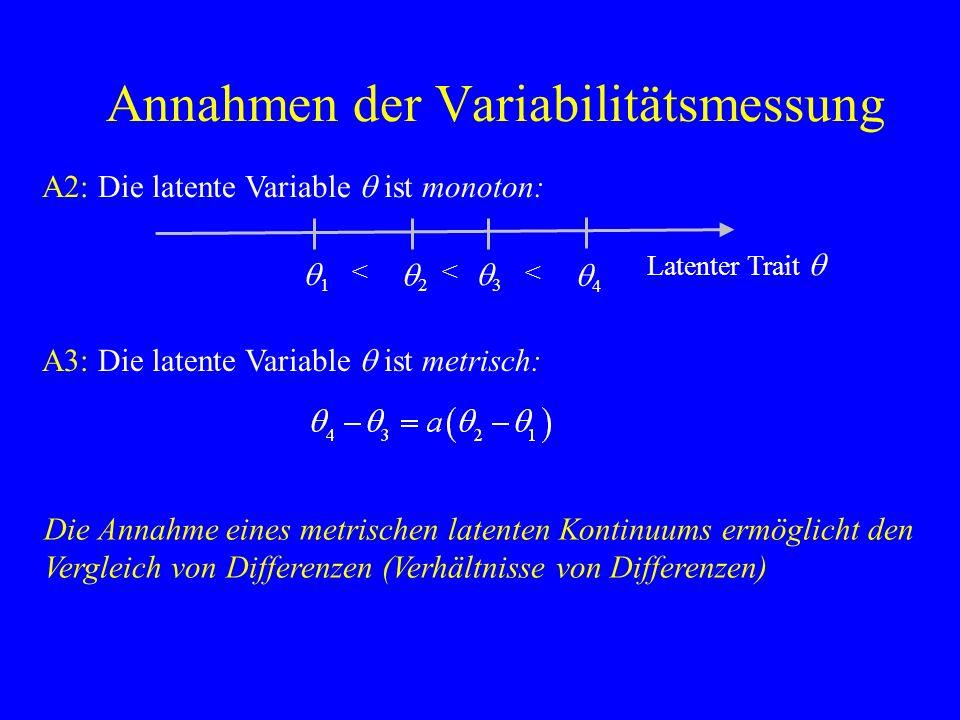 Annahmen der Variabilitätsmessung A2: Die latente Variable q ist monoton: Die Annahme eines metrischen latenten Kontinuums ermöglicht den Vergleich von Differenzen (Verhältnisse von Differenzen) Latenter Trait q q1q1 q2q2 q3q3 q4q4 << < A3: Die latente Variable q ist metrisch: