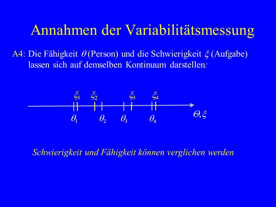 Annahmen der Variabilitätsmessung A5: Aufgabenlösung (Person i, Aufgabe j ): Position auf dem gemeinsamen Fähigkeits-Schwierigkeits- Kontinuum entscheidet über Aufgabenlösung (Guttman) Q,x q1q1 q2q2 q3q3 q4q4 x1x1 x2x2 x3x3 x4x4 1.