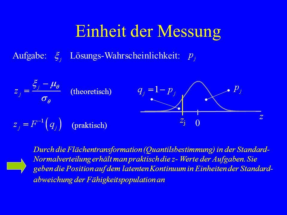 Einheit der Messung Aufgabe: Durch die Flächentransformation (Quantilsbestimmung) in der Standard- Normalverteilung erhält man praktisch die z- Werte
