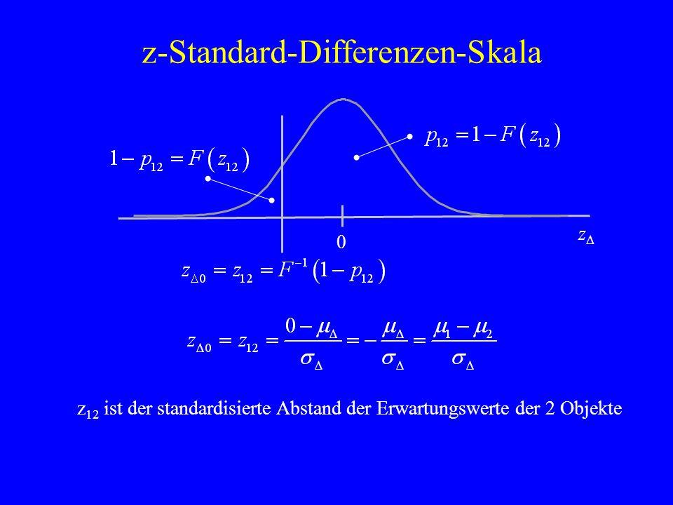 z-Standard-Differenzen-Skala zDzD 0 z 12 ist der standardisierte Abstand der Erwartungswerte der 2 Objekte