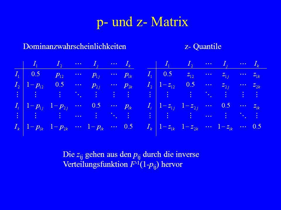 p- und z- Matrix Die z ij gehen aus den p ij durch die inverse Verteilungsfunktion F -1 (1-p ij ) hervor Dominanzwahrscheinlichkeitenz- Quantile