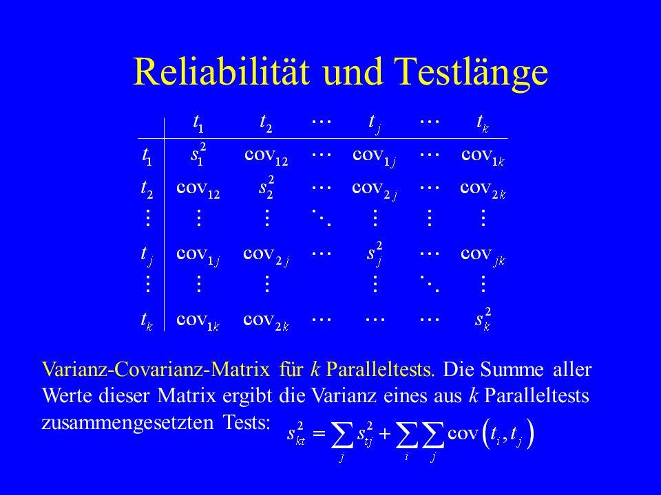 Reliabilität und Testlänge Varianz-Covarianz-Matrix für k Paralleltests. Die Summe aller Werte dieser Matrix ergibt die Varianz eines aus k Parallelte