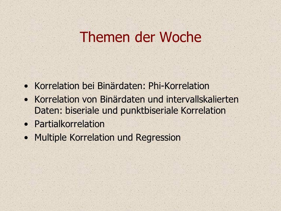 Themen der Woche Korrelation bei Binärdaten: Phi-Korrelation Korrelation von Binärdaten und intervallskalierten Daten: biseriale und punktbiseriale Ko