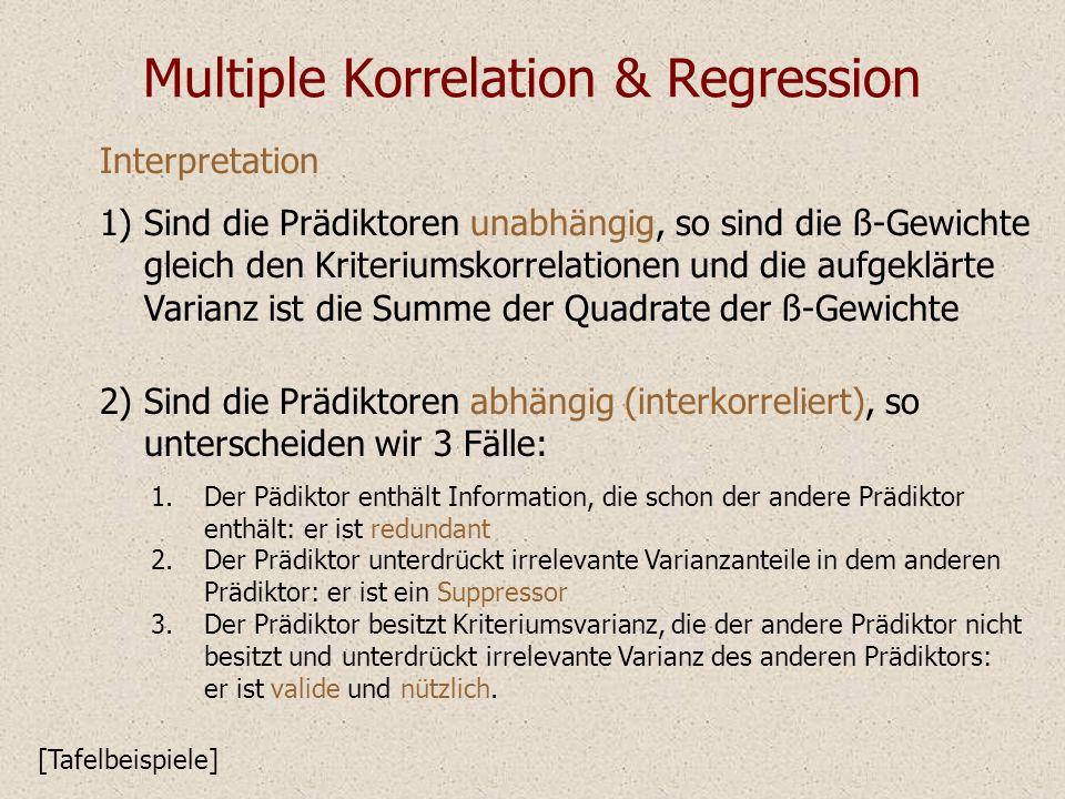 Multiple Korrelation & Regression Interpretation Sind die Prädiktoren unabhängig, so sind die ß-Gewichte gleich den Kriteriumskorrelationen und die au