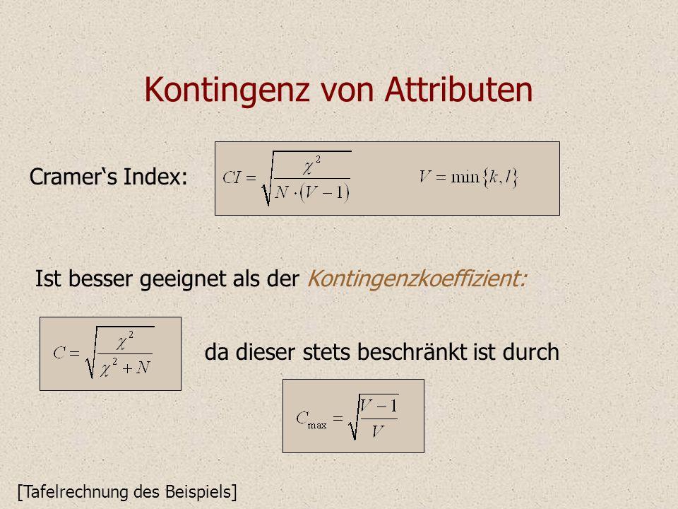Kontingenz von Attributen Cramers Index: Ist besser geeignet als der Kontingenzkoeffizient: [Tafelrechnung des Beispiels] da dieser stets beschränkt i