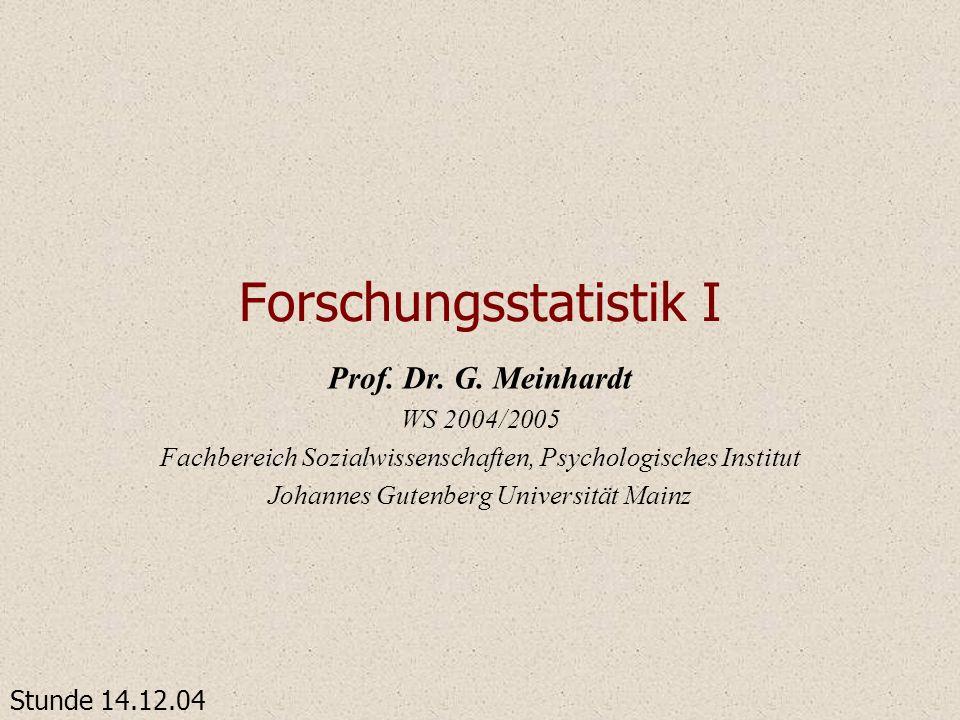 Forschungsstatistik I Prof. Dr. G. Meinhardt WS 2004/2005 Fachbereich Sozialwissenschaften, Psychologisches Institut Johannes Gutenberg Universität Ma