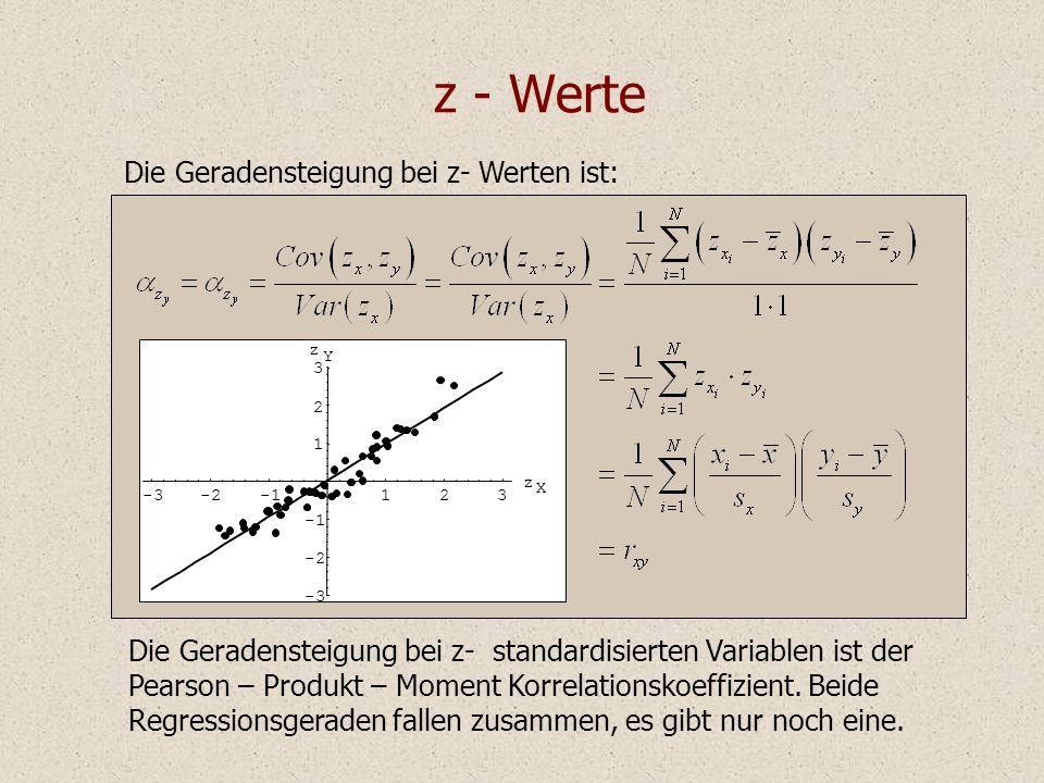 z - Werte Die Geradensteigung bei z- standardisierten Variablen ist der Pearson – Produkt – Moment Korrelationskoeffizient. Beide Regressionsgeraden f