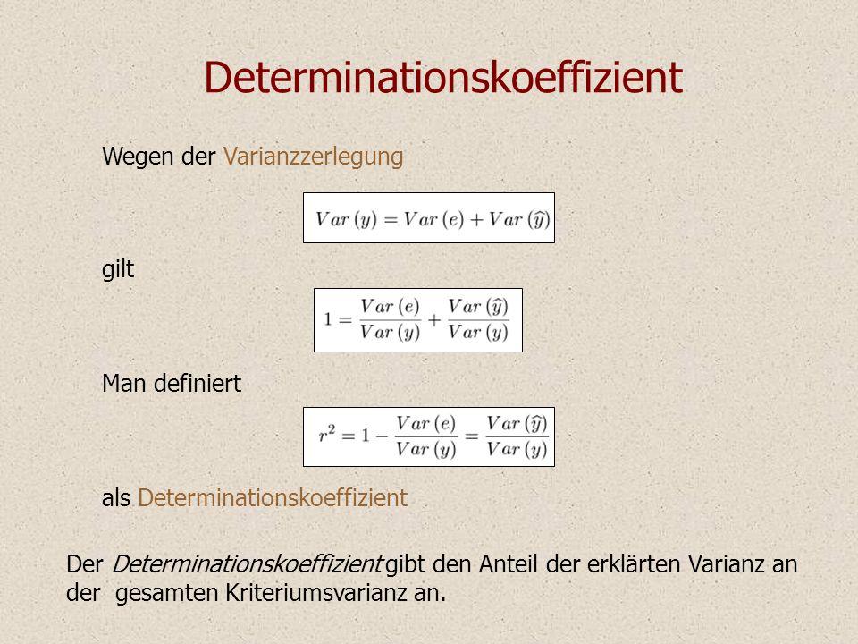 Determinationskoeffizient Der Anteil der erklärten Varianz ist der Anteil der quadrierten Kovarianz an dem Produkt der beiden Varianzen.