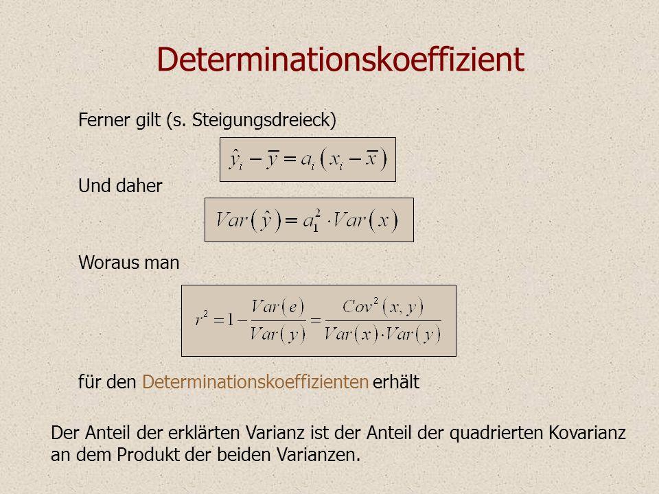 Determinationskoeffizient Der Anteil der erklärten Varianz ist der Anteil der quadrierten Kovarianz an dem Produkt der beiden Varianzen. Ferner gilt (