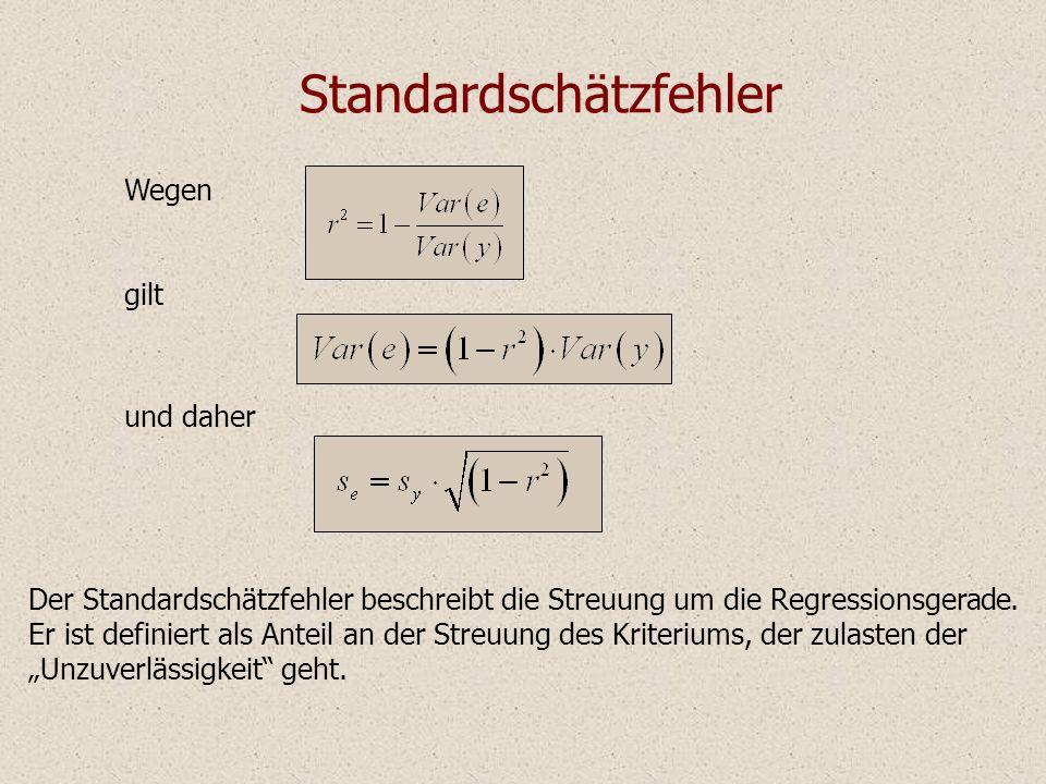 Standardschätzfehler Der Standardschätzfehler beschreibt die Streuung um die Regressionsgerade. Er ist definiert als Anteil an der Streuung des Kriter