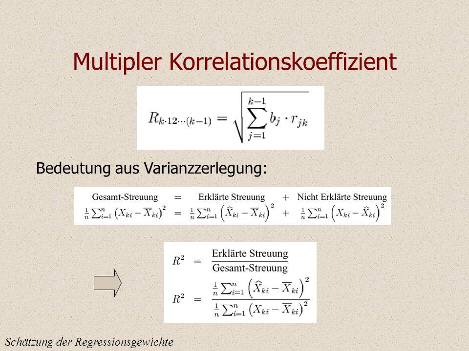 Multipler Korrelationskoeffizient Schätzung der Regressionsgewichte Bedeutung aus Varianzzerlegung: