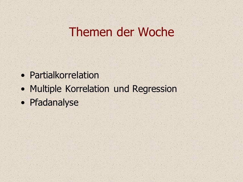 Themen der Woche Partialkorrelation Multiple Korrelation und Regression Pfadanalyse