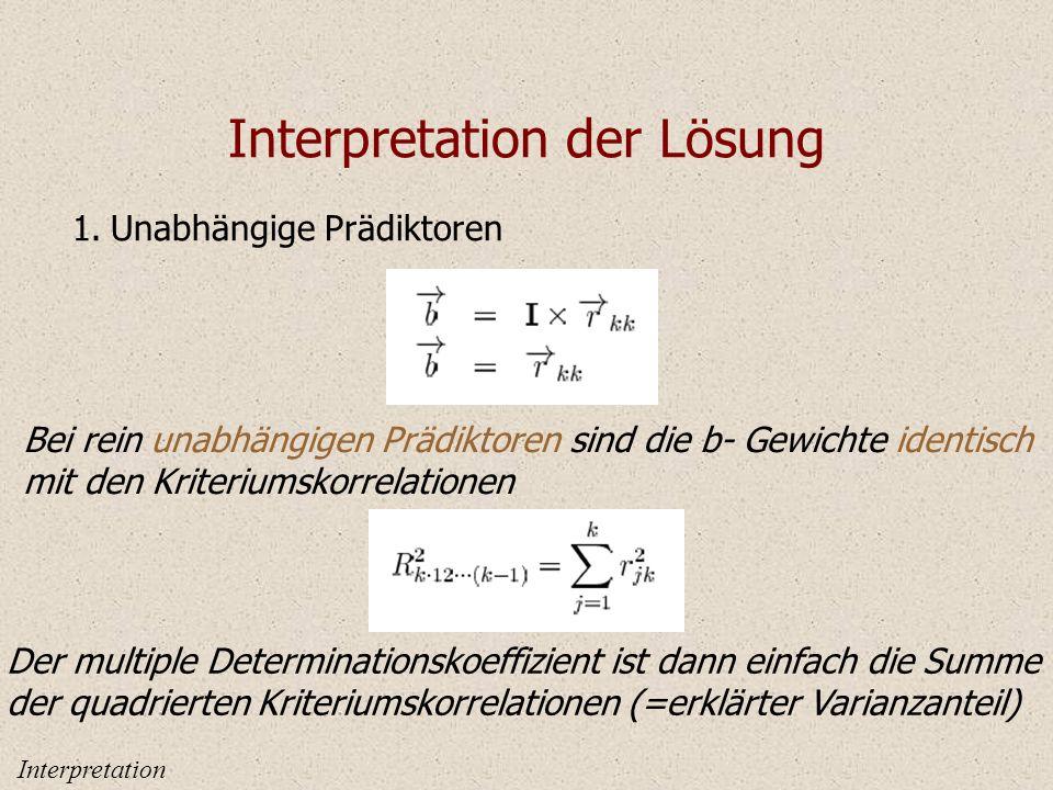 Interpretation der Lösung 1.