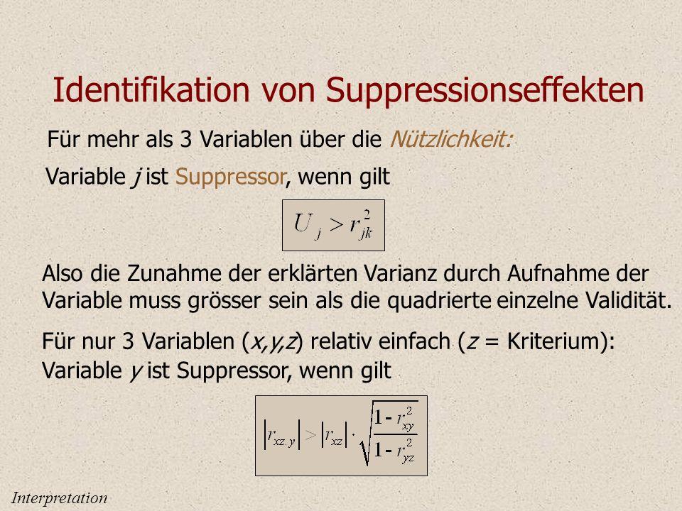 Identifikation von Suppressionseffekten Für mehr als 3 Variablen über die Nützlichkeit: Variable j ist Suppressor, wenn gilt Also die Zunahme der erklärten Varianz durch Aufnahme der Variable muss grösser sein als die quadrierte einzelne Validität.